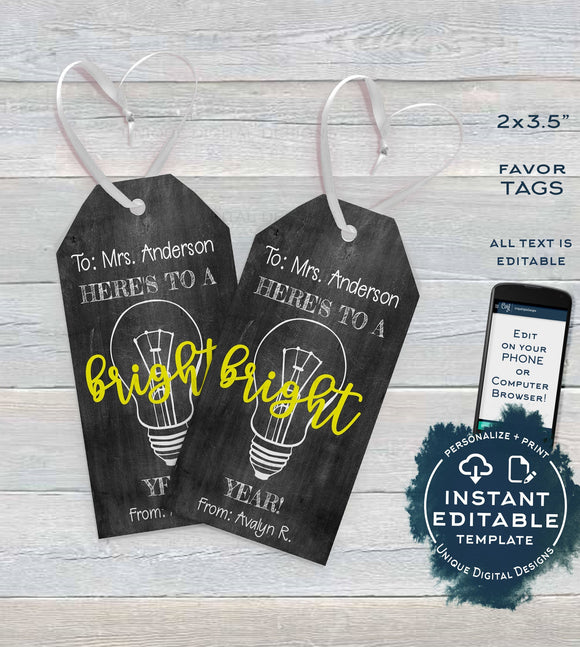 First Day Favor Tags for Teachers, Kids Editable Back to School Teacher Printable Gift Tag, Classroom Chalkboard Template INSTANT ACCESS