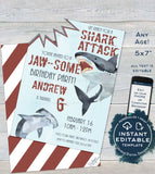 Editable Birthday Favor Tag, Shark Party Favor, Jawsome Thank You Favor Tag, Shark Week Birthday, Shark Bite Party Printable,