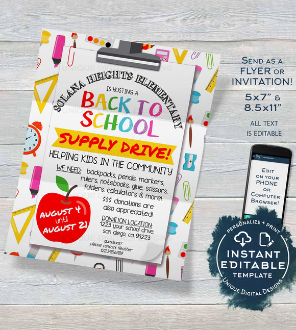 School Supply Drive Flyer, Editable School Donation Invitation Printable Pta Pto Flyer Back to School Fundraiser, diy Digital
