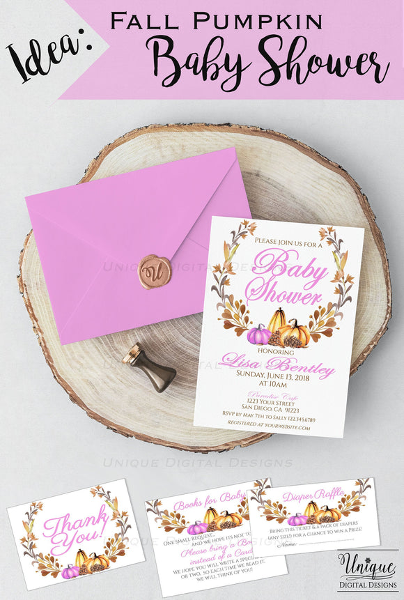Editable Fall Pumpkin Baby Shower Invitation, Rustic Pumpkin Invite, Baby Girls Fall Harvest Theme, Custom Printable