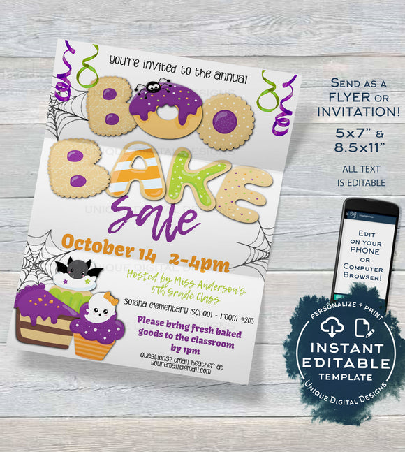 Boo Bake Sale Flyer , Editable Halloween Invitation, PTA Printable Holiday Cookie Fundraiser, pto Church School