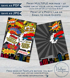 Comic Book Superhero Birthday Invitation, Editable Boys Superhero Party Invite, ANY Age Digital Printable or Electronic Phone