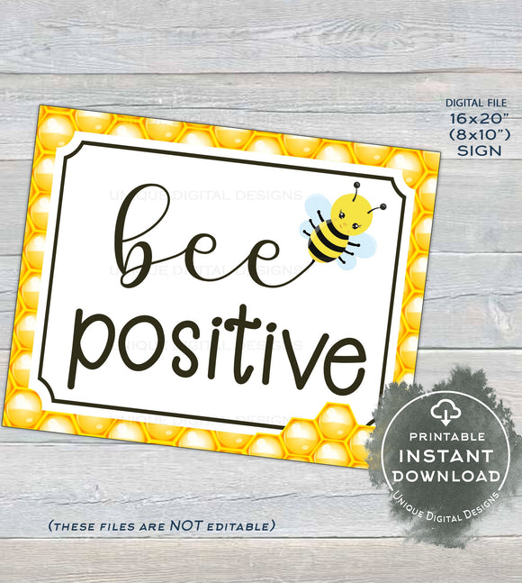 Teacher Classroom Decorations School Sign, Inspirational Bee Positive Poster, Bee PTA Teachers gift Digital Printable