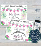 Watermelon Back to School Sign, Editable First day of School Poster, reusable Last day of School, Any Grade Digital Printable INSTANT ACCESS