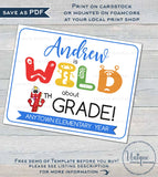 Wild about School Sign, Editable First Day of School Sign, Monsters School Board, Any Grade, diy Digital Printable