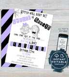 Ghoul or Booy Gender Reveal Invitation, Editable Halloween Reveal Invite He or She Witch will baby be Ghost Digital Printable INSTANT ACCESS