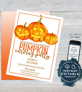 Pumpkin Carving Party Invitation, Editable Halloween Pumpkin Patch Invite Fall Birthday Party Printable Jackolantern Template INSTANT ACCESS