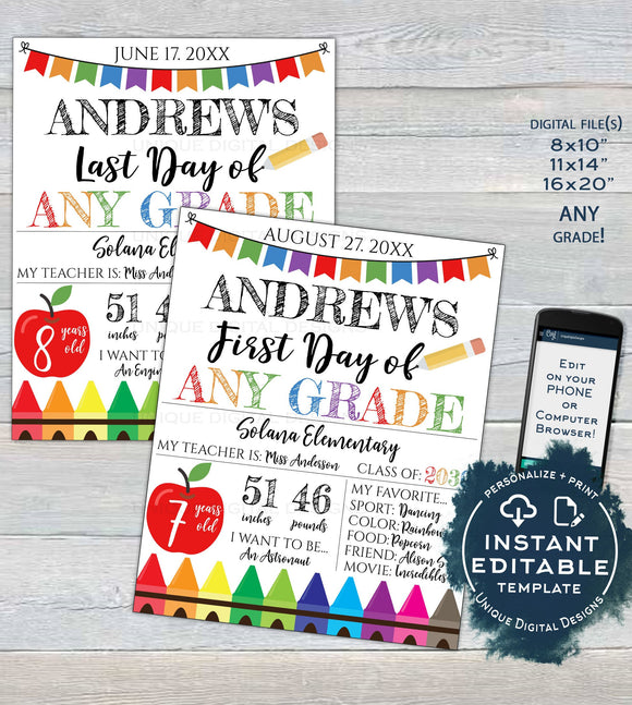 Editable Back to School Photo Prop, 1st Day of Back to School Poster, Personalized School Chalkboard Sign, Any Grade Digital  UTCR