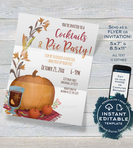 Pie Party Invite, Editable Cocktails and Pie Party Invite, Fall Party Invitation, Customer Appreciation Pumpkin Pie Printable INSTANT ACCESS