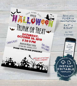 Trunk or Treat Flyer, Editable Halloween Invitation Template Kid Church Community School Halloween Fundraiser Event Printable INSTANT ACCESS
