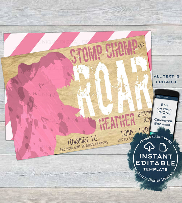 Editable Girls Dinosaur Birthday Invitation, Dinosaur Party Favor Tags, Stomp Chomp and Roar Thank You diy Dinosaur Printable INSTANT ACCESS