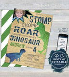Dinosaur Birthday Invitation with Bite, Editable Stomp Chomp and Roar Dinosaur Invite Boy, ANY Age Party Printable Template INSTANT DOWNLOAD
