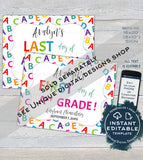 Monster Editable First day of School Sign, reusable Unique Boys Last day School Board, Any Grade, Digital Printable