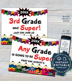 Editable Superhero First day of School Sign, reusable Boys Super Last day School Board, Any Grade, Digital Printable