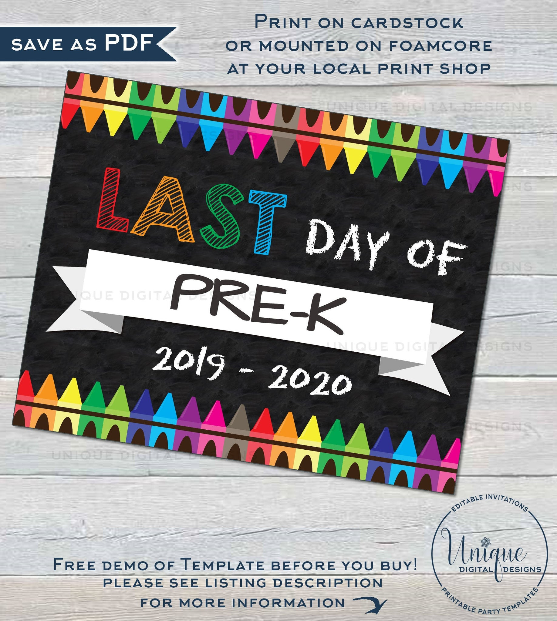 photograph about First Day of Pre K Sign Printable named Printable 1st working day of Higher education Chalkboard Indicator reusable 1st