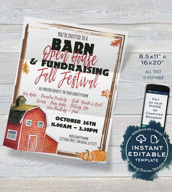 Barn Open House Flyer, Editable Fall Festival Fundraiser Invitation, Fall Farm Flyer Pumpkin Patch Template, Charity Event INSTANT ACCESS