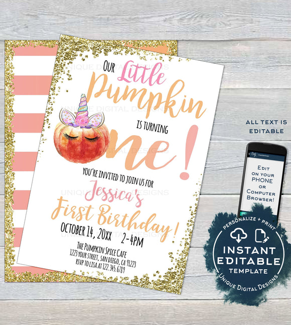 Little Pumpkin Invitation First Birthday, Editable Rustic Unicorn Pumpkin Invite One Girl, Baby Fall Printable Template diy INSTANT ACCESS