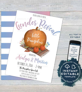 Little Pumpkin Gender Reveal Invitation, Editable Rustic Pumpkin Invite, What will Baby Be, Fall Harvest Printable Template INSTANT ACCESS