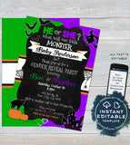 Halloween Gender Reveal Invitation, Little Monster Editable Halloween Invite, He or She What Will Baby be, Costume Party diy INSTANT ACCESS