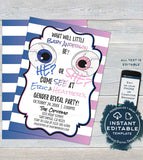 Editable Halloween Gender Reveal Invitation, Halloween Baby Shower Invite, He or She Baby Reveal Eyeball Printable Template INSTANT ACCESS