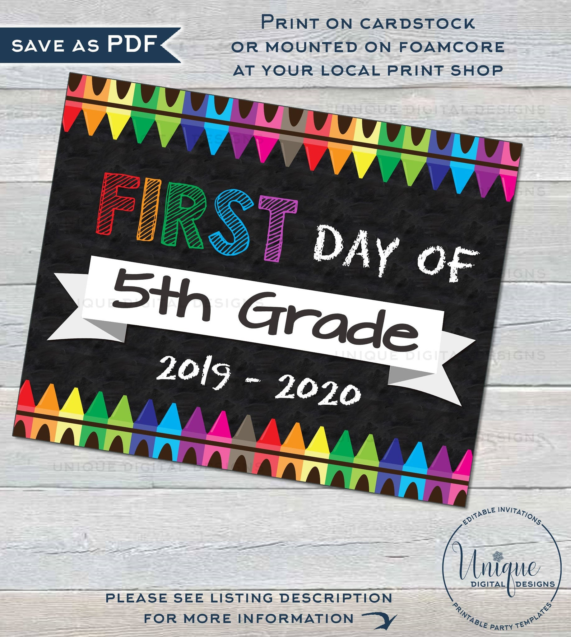 photograph about First Day of 5th Grade Printable titled Initially working day of University Chalkboard Indicator reusable 1st working day 5th Quality Indication Remaining working day of University Crayon Electronic Printable Prompt Down load 16x20 8x10