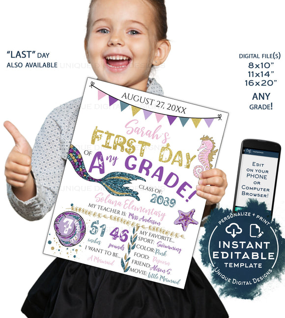 Editable Back to School Photo Prop, Girls Mermaid 1st Day Back to School Poster, Personalized School Sign, Any Grade Digital