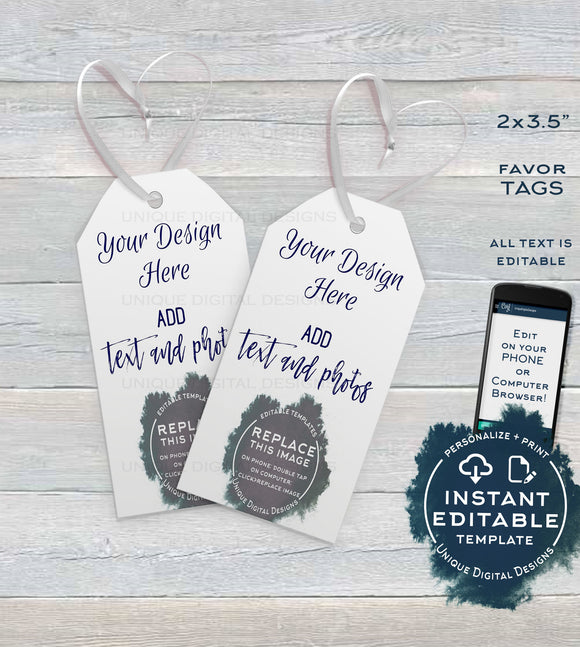 Custom Favor Tags, Editable Thank You Tag, Back to School Gift, Birthday Wedding Baby Shower Parties Digital Personalized diy INSTANT ACCESS