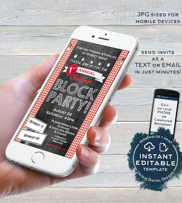 Editable Block Party Invitation, Street Party Neighborhood Party Electronic Invite, Hoa BBQ Party Digital Smartphone Invite