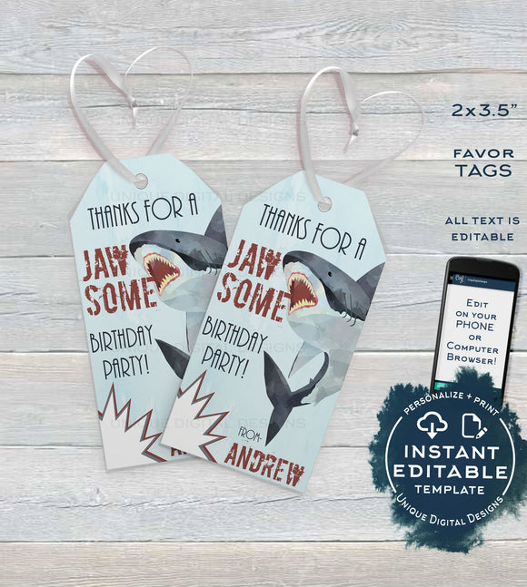Editable Birthday Favor Tag, Shark Party Favor, Jawsome Thank You Favor Tag, Shark Week Birthday, Shark Bite Party Printable, INSTANT ACCESS