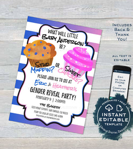 Editable Gender Reveal Invitation, Stud Muffin or Sweet Cupcake Baby Shower Invite ,He or She Reveal Printable Template diy INSTANT ACCESS