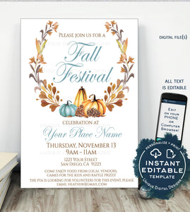 PTA Fall Festival Poster, Editable Fall Harvest Invitation, Printable School Halloween Flyer, Community Church Sign Printable INSTANT ACCESS