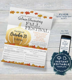 Fall Festival FLYER, Editable Fall Harvest Invitation Printable pta Invite with Tear Off Slip for Parents, Pto Church School INSTANT ACCESS