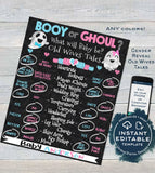 Halloween Gender Reveal Party, Editable Old Wife Tales Cast Vote Sign Baby Ghost Ghoul or Booy He or She Chalkboard Printable INSTANT ACCESS