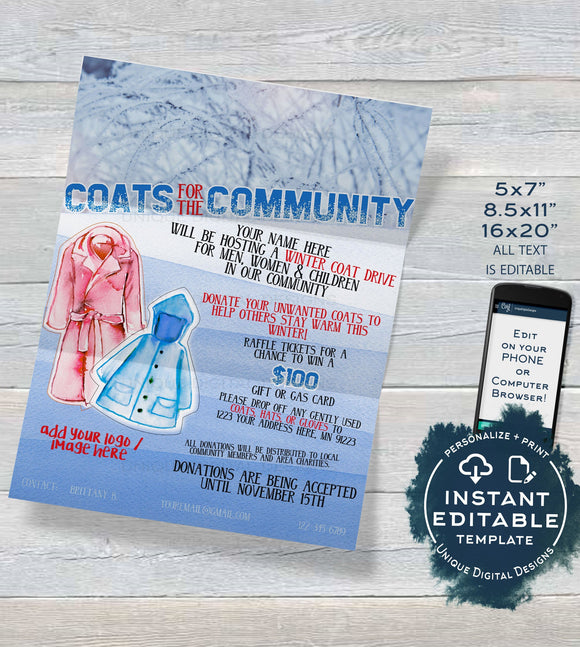 Editable Winter Coat Drive Flyer, Coats for the Community Fundraiser Invitation, Church Jacket Donation Charity Printable PTA INSTANT ACCESS