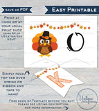 Our Little Turkey Banner Template, Editable Fall Baby Bunting Flags, Thanksgiving 1st Birthday Decor, diy Printable Template INSTANT ACCESS