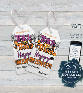 Editable Halloween Tags Printable, Trick or Treat Personalized Halloween Favor Tags, Boo Bag Thank You Gift Tag for kids, diy INSTANT ACCESS