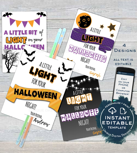 Editable Halloween Glow Stick Tags, A Little Light for Halloween Night Halloween Gifts for Kids Favor Tag Printable Thank You INSTANT ACCESS