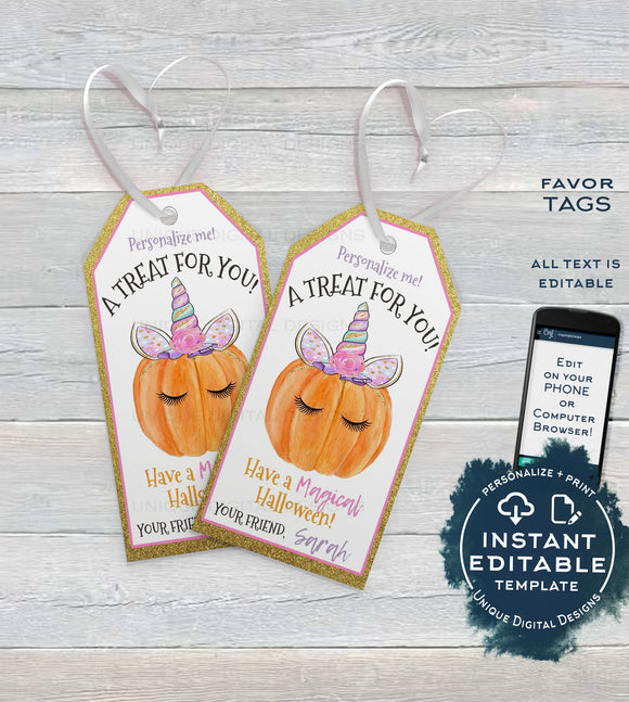 Editable Halloween Tags, Girls Unicorn Pumpkin Halloween Favor Tags, Magical Halloween Tag Trick or Treat Tags Goodie Bag Tag INSTANT ACCESS