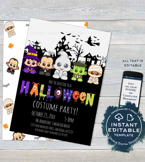 Halloween Costume Party Invitation, Editable Halloween Party Invite, Neighborhood Costume Party Kids Birthday Printable diy INSTANT ACCESS