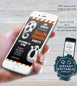 Spooktacular Party Invitation, Editable Halloween Ghost Electronic Invite, Halloween Birthday Digital Smart phone Invitation INSTANT ACCESS