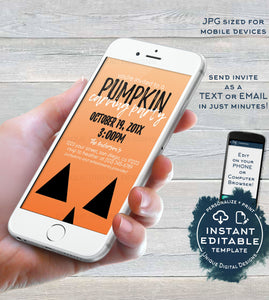 Pumpkin Carving Party Invitation, Editable Pumpkin Patch Electronic Invite Halloween Birthday Digital Smart phone Invitation INSTANT ACCESS