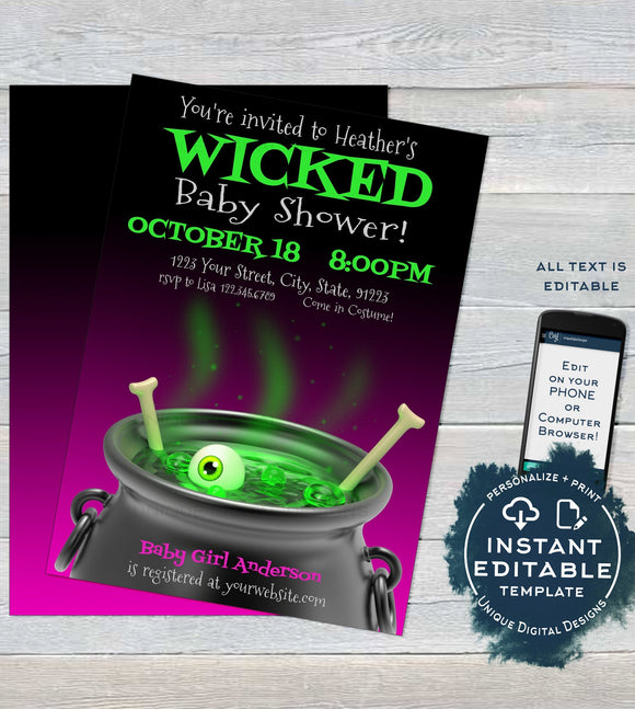 Halloween Baby Shower Invitation, Editable Halloween Witch Invitation ,Wicked Baby Girl is Brewing, Party Printable Template INSTANT ACCESS