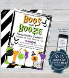 Boos and Booze Invitation, Editable Halloween Party Invite, Birthday Beer Cocktail Boos and Brews Spooktacular Costume Party INSTANT ACCESS