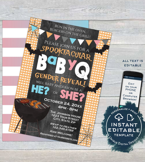 Halloween BabyQ Gender Reveal Invitation, Editable Spooktacular Baby Shower He or She Halloween Party Halloween BBQ Printable INSTANT ACCESS