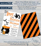 Boos and Booze Invitation, Editable Halloween Party Invite Boo and Brews Beer Spooktacular Costume Party Printable Custom diy INSTANT ACCESS