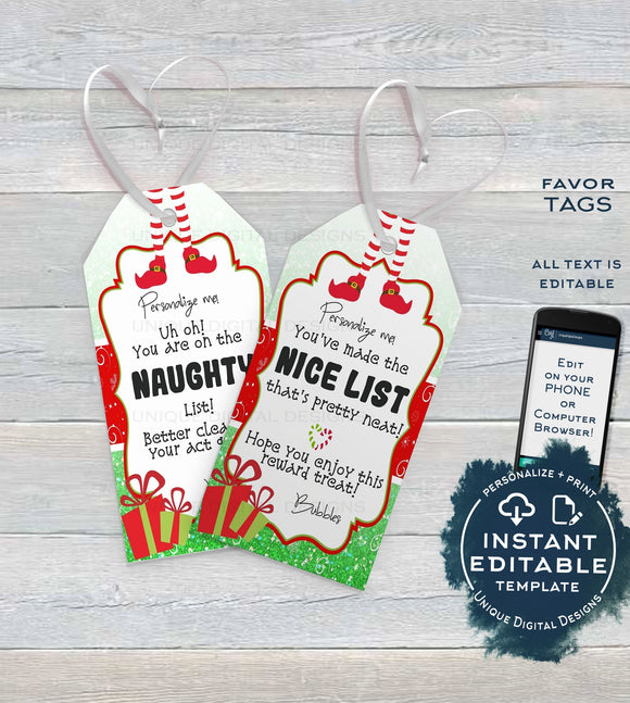 Editable Elf Favor Tags, Gifts from your Elf Personalized Tag ideas, Naughty or Nice Printable Christmas Thank You, Gift Tag INSTANT ACCESS