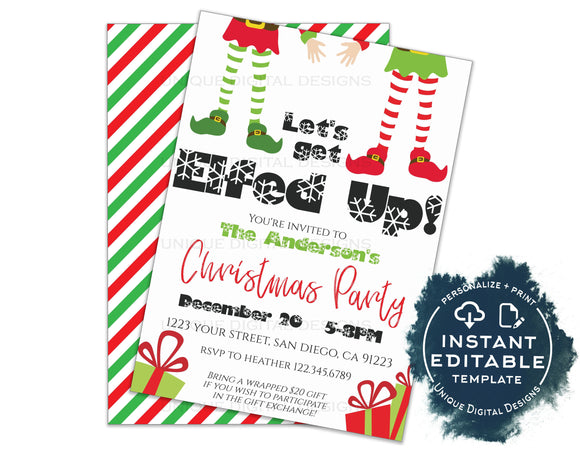 Editable Lets get Elfed Up Invitation, Christmas Party Invitation, Happy Holiday Party Adult Gift Exchange, Printable INSTANT ACCESS 5x7