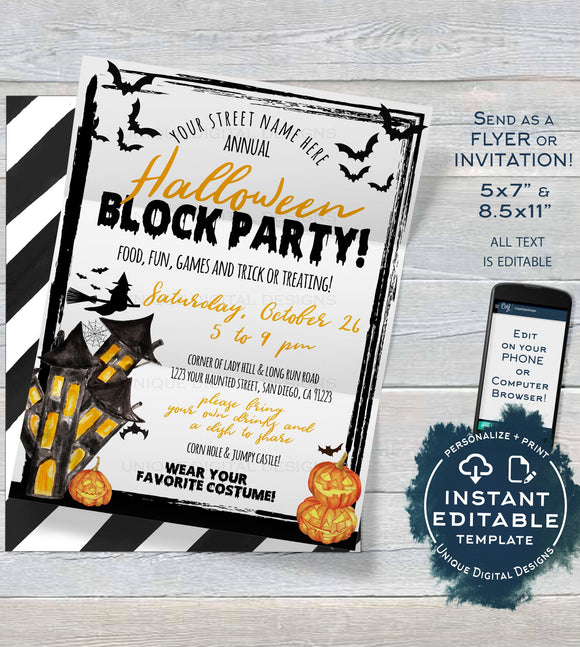 Halloween Block Party Invitation, Editable Street Party Invite, Neighborhood Costume Party Flyer, Backyard BBQ hoa Printable INSTANT ACCESS