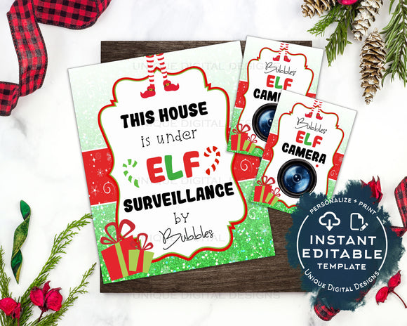Editable Elf Surveillance Kit, This House is under Elf Surveillance Sign, Personalized Christmas Elf Props, Camera Printables INSTANT ACCESS