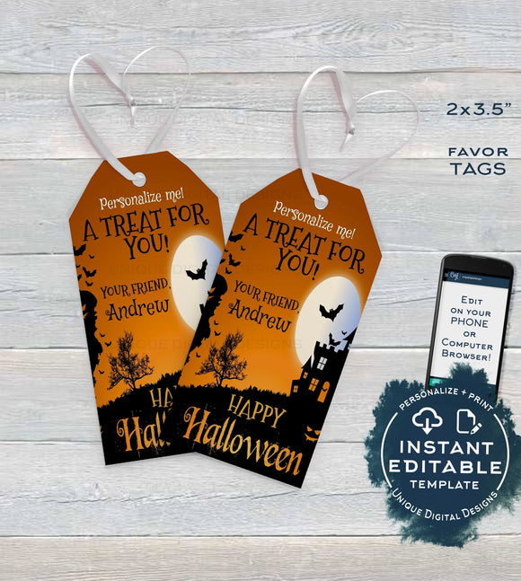 Editable Birthday Halloween Favor Tags, Personalized Halloween Tags Trick or Treat Thank You Printable Adult Gift Tags Spooky INSTANT ACCESS